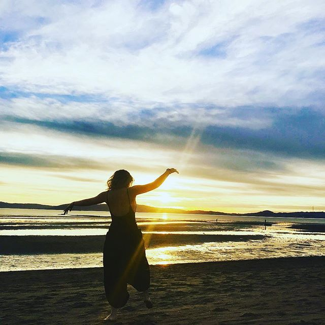 Sometimes when the tide is low you have to dance at sunset instead of swim. #followthewater #sunset #dance