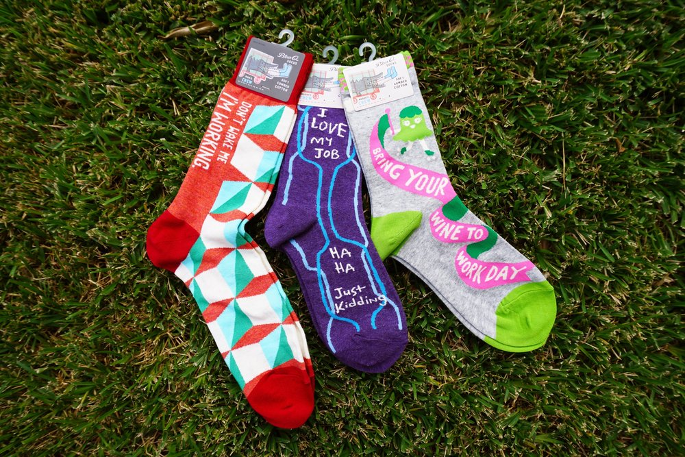 Blue Q Socks   We have joined the sock mania craze with these sassy socks and 1% of the total sales supports the humanitarian work of  Doctors Without Borders  .