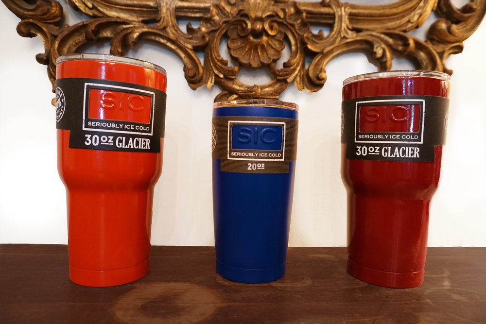 "SIC Cups   These ""seriously ice cold"" cups will keep your drink ice cold for 24 hours plus or hot for 8 hours or more. They have a life-time guarantee and come in a rainbow of colors."