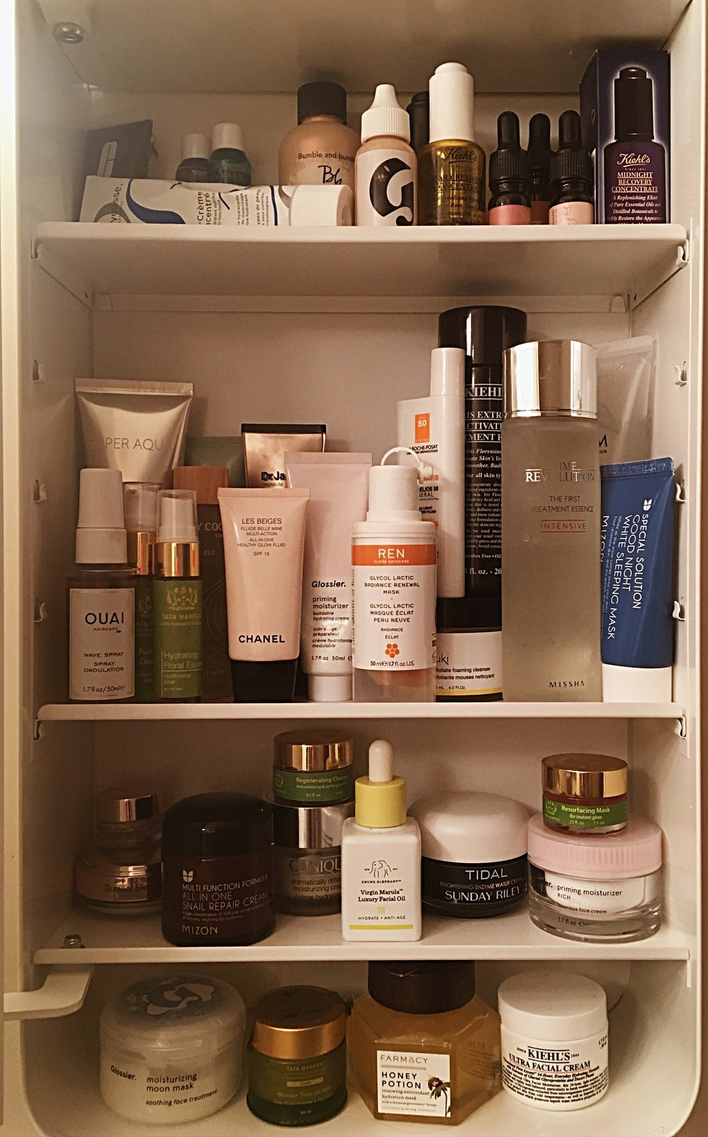 More than half of this cabinet brought to you by Birchbox, and my credit card bill.