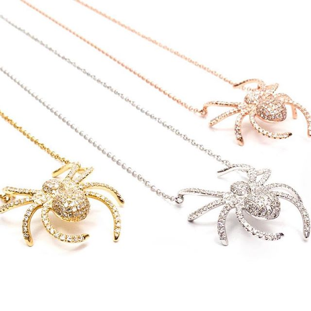 The #itsybitsyspider hung around your neck #sparklyspiders #14k #rosegold or #yellowgold or #whitegold #foundryfabulous #feelyourfoundry email janet@foundryjewelry.com for pricing