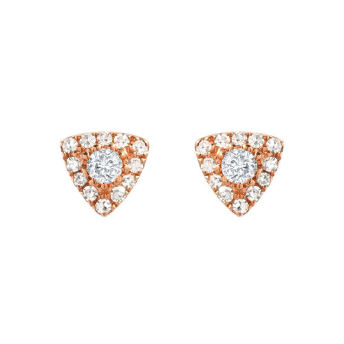 24e169e54 14KT Gold Diamond Triangle Tiny Studs