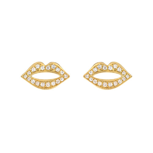 14kt Gold Pave Diamond Lips Stud The Foundry