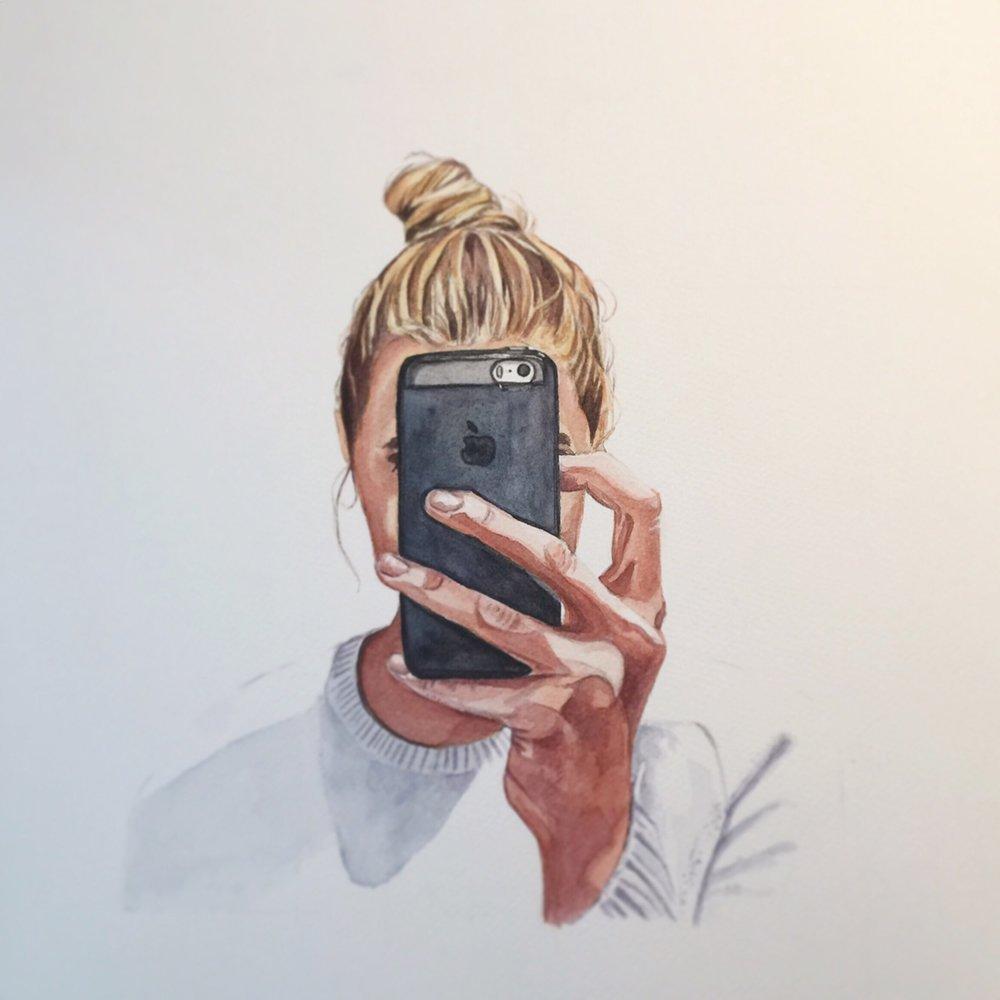"""Daughter of Man watercolor 8"""" x 10"""""""