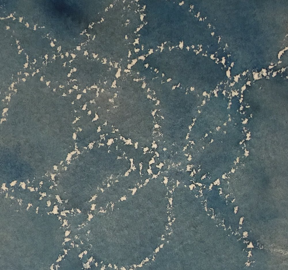 Drawn wax circles, then painted over