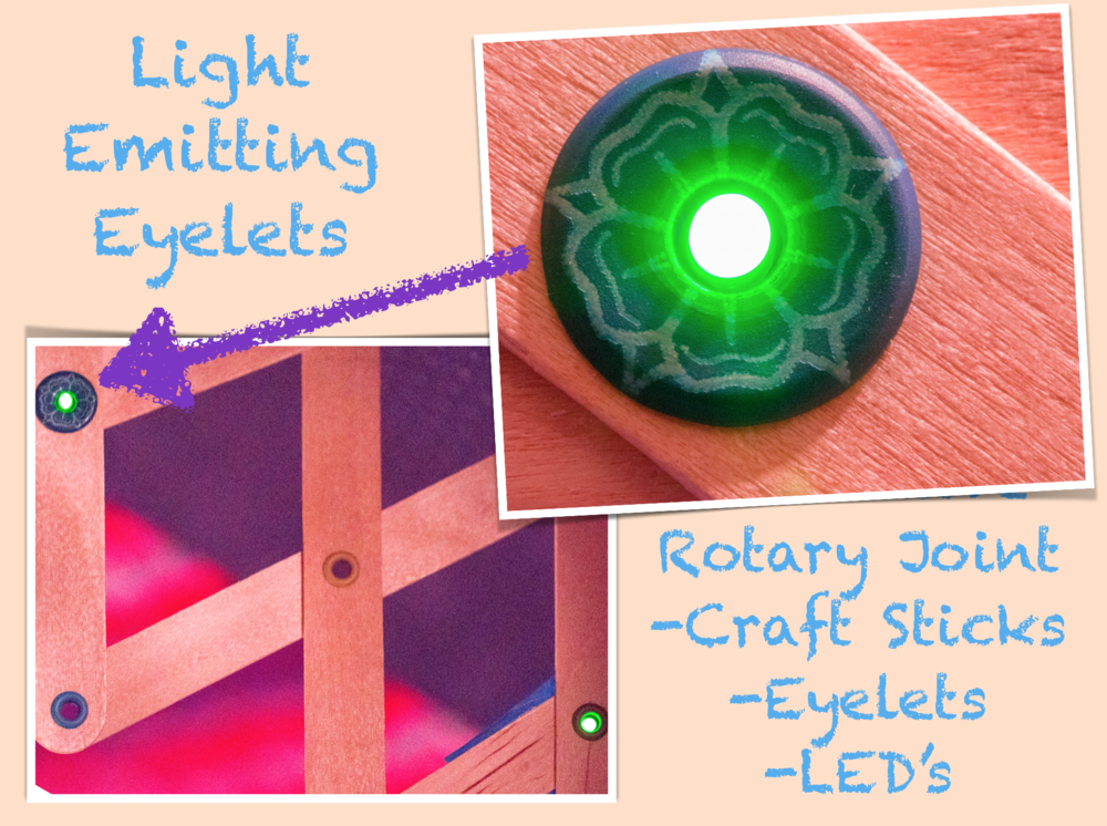 Laser etched eyelets with LED inserts: Engineering + Art