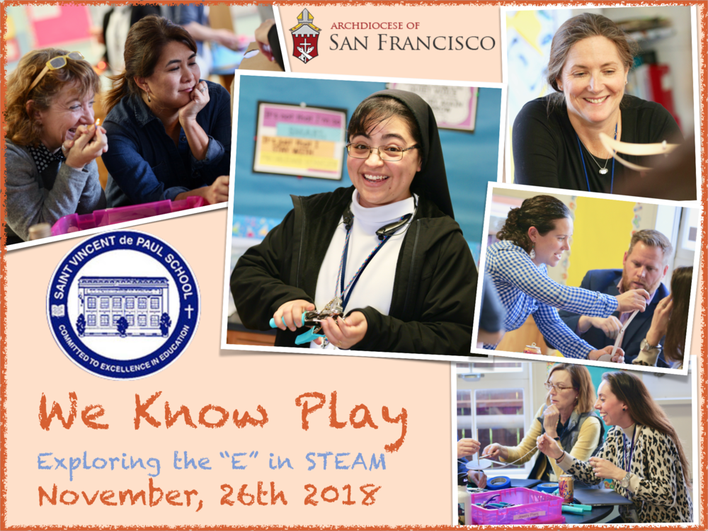Faculty at St. Vincent de Paul School in San Francisco spent a couple of hours trying out engineering tools and techniques.