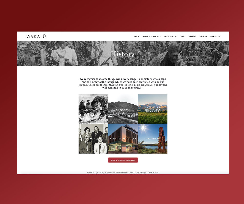 Wakatu Website History Page Design