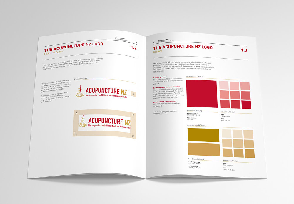 Acupuncture NZ Brand Identity Guidelines Spread Design