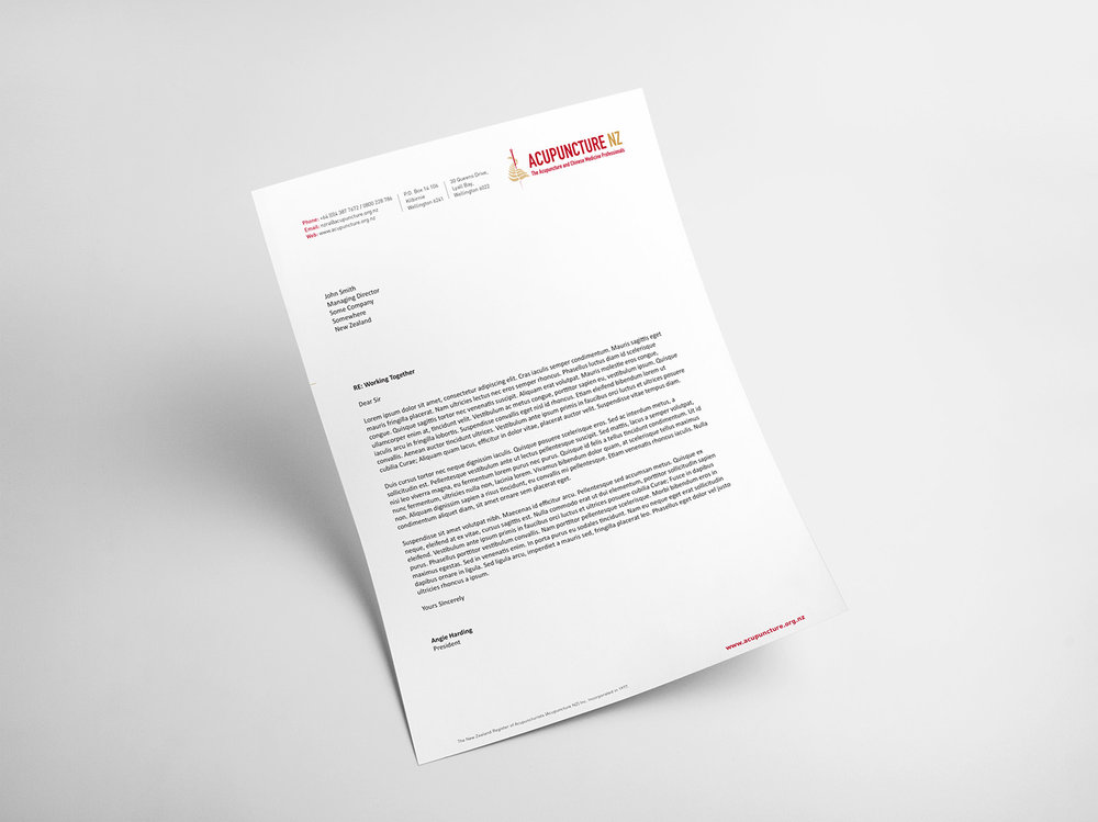 Acupuncture NZ Brand Identity Letterhead Design