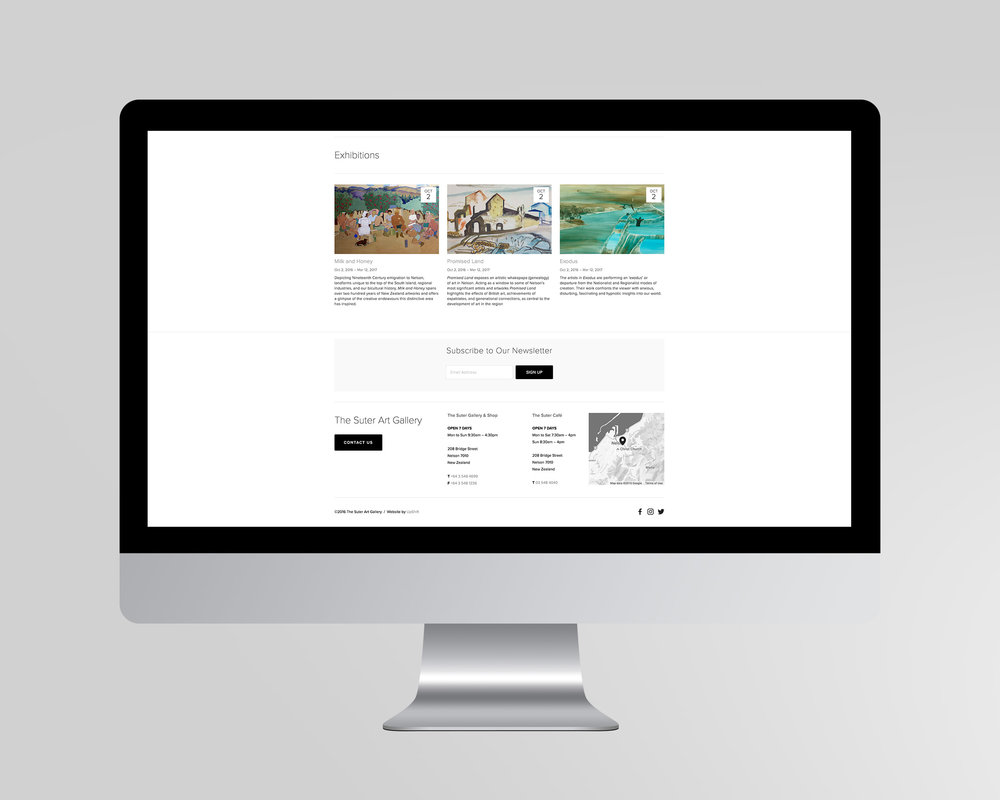 The Suter Website Exhibitions Page Design