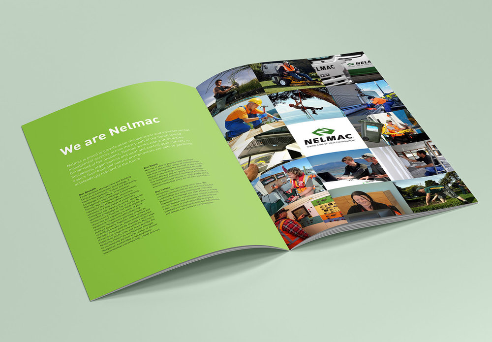 Nelmac Company Profile Spread Design