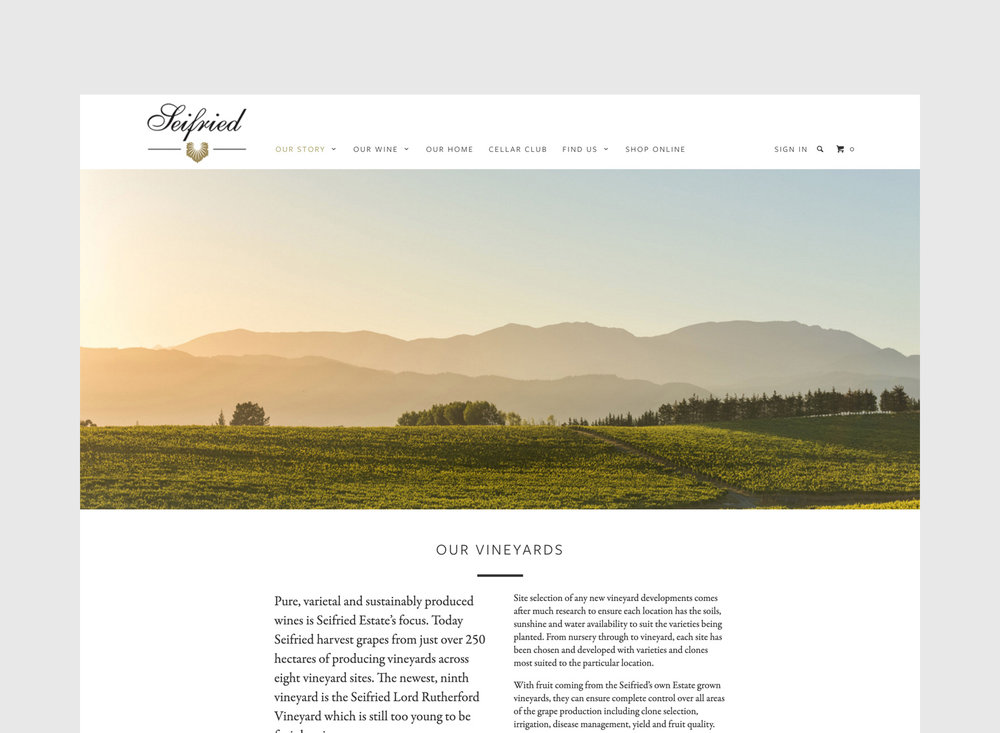 Seifried Website Our Story Page Design