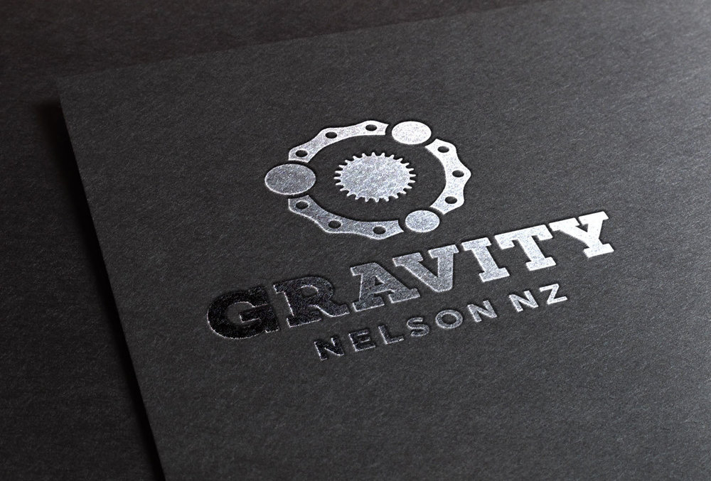 Gravity Logo Black Foil Blocking