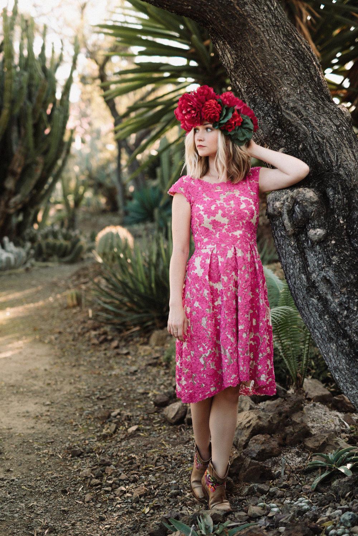 Pink Flower Crown Portrait at Ruth Bancroft Gardens