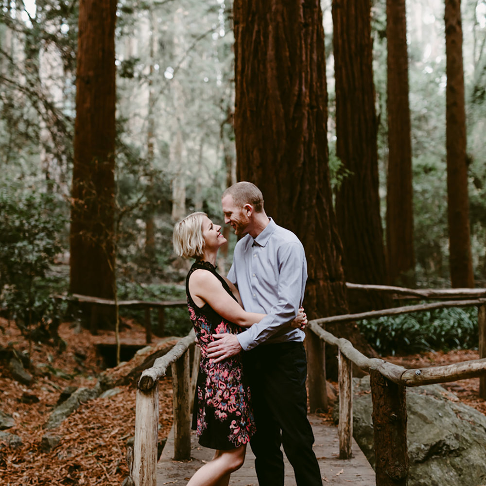 Engagement Photography using natural light in a moody forest. Walnut Creek, CA.