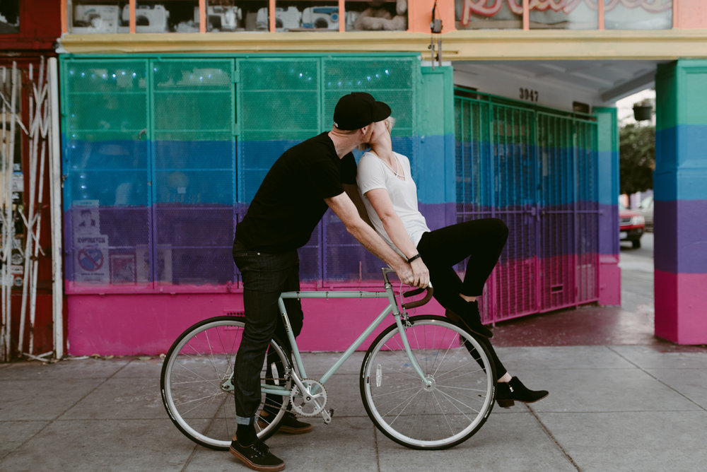 Cute Engagement Portraits on Bikes in San Francisco California