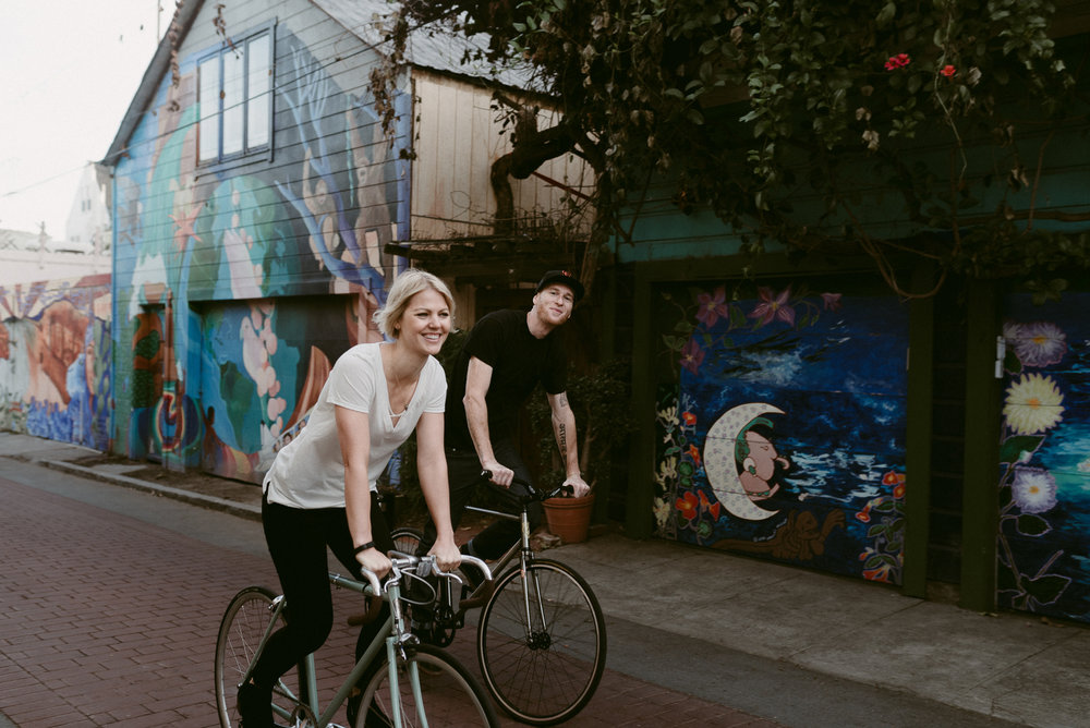Fun Engagement Portraits in San Francisco on Bikes