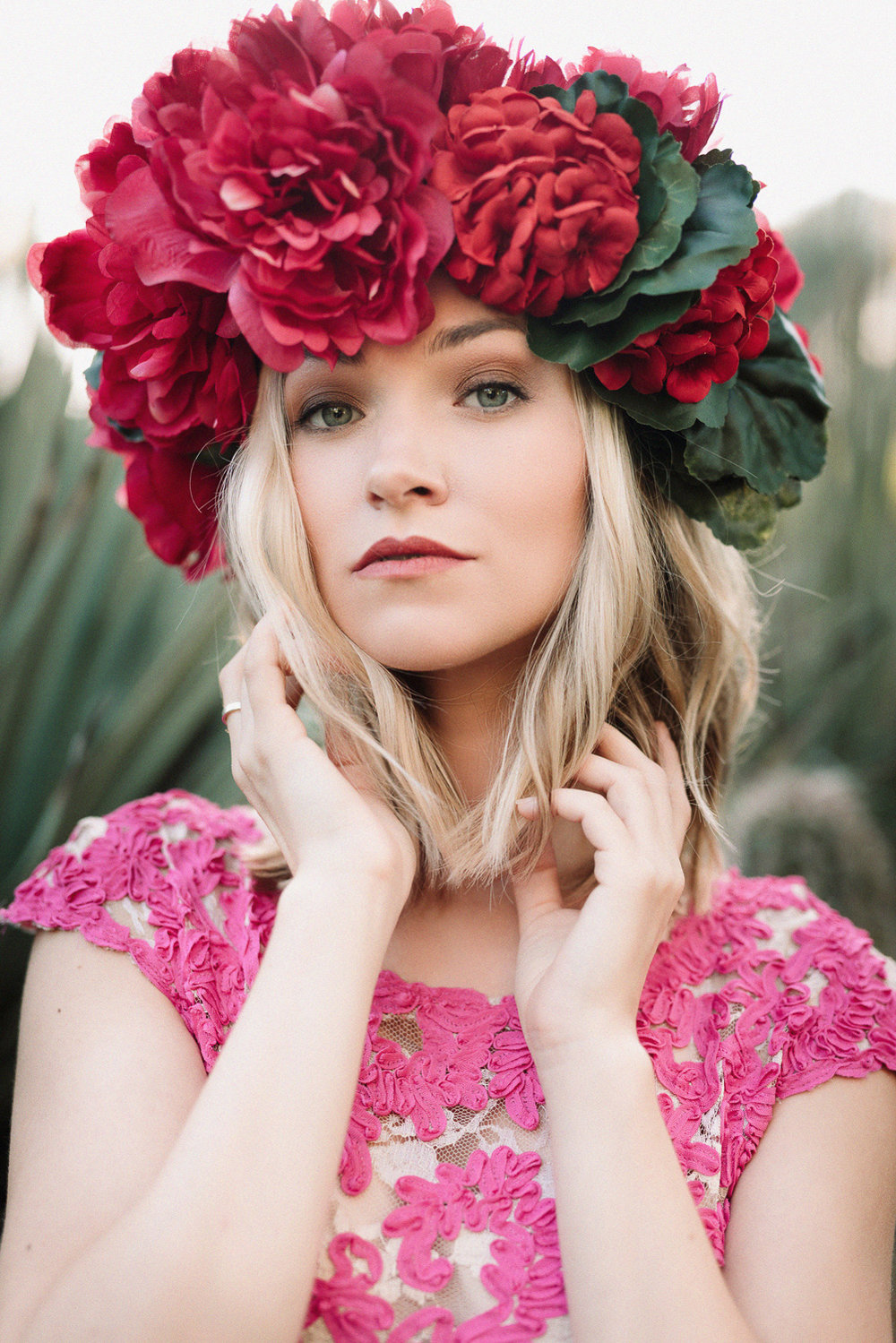 Beautiful styled portrait session with flower crown
