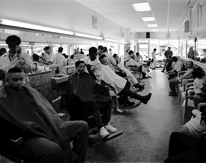 Photo by Sixth Street Photography,  SF Barber College, 1992,  gelatin silver print, 20 x 16 inches