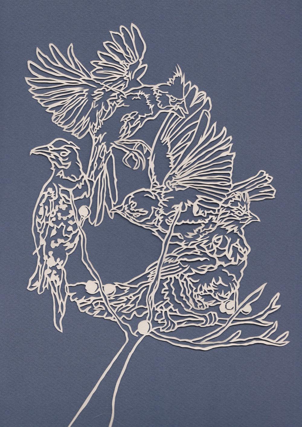 cardinal bluebird roughgrous flicker papercut on blue.jpg