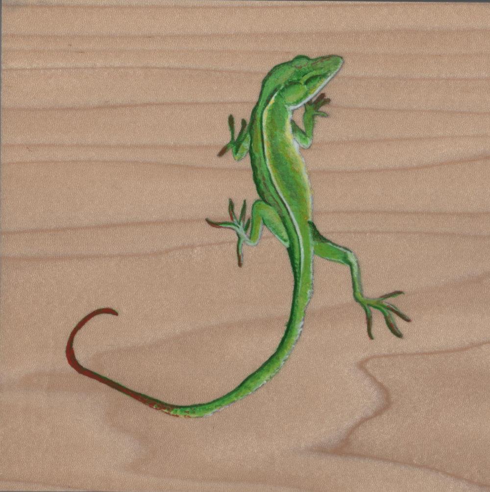Anolis Carolinensis Lizard_Painting on wood_01.jpg