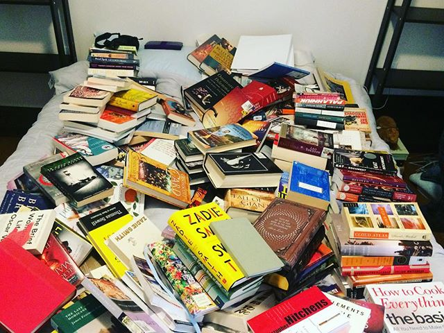 Cleaning out bookshelves is so incredibly hard 😩I want to keep all of them. Theory: if we dump every single book we own on the bed, then we'll be forced to deal with them. Right? In related news: I might be sleeping on the floor tonight #sendhelp . . . #authorsofinstagram #authorlife #yaauthor #bookstagram #booknerdigans #bookshelf