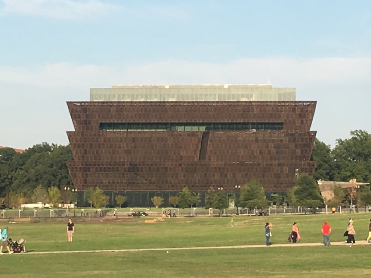 A picture of the African American History Museum. It wasn't open when were there, but I definitely want to take DJ there later this year. The building was so pretty in person!