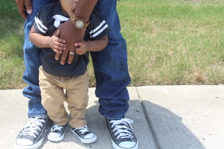 Does it really get any cuter than this? Daddy and son matching chucks...aaaand DJ eating the watch lol