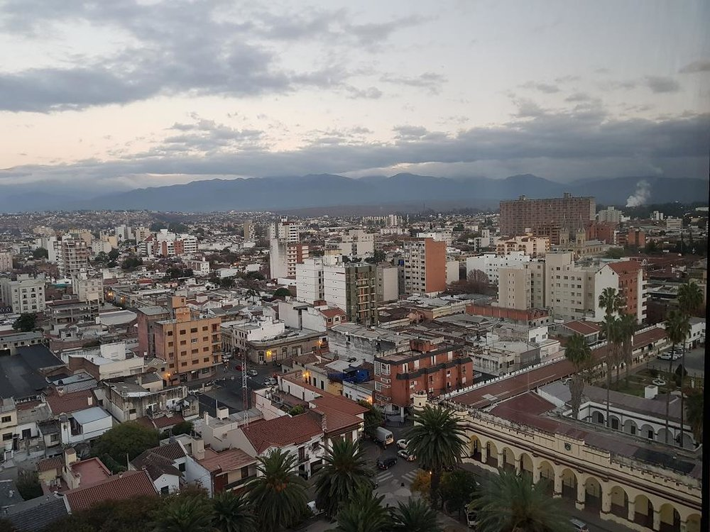 View from hotel room in Salta soon after dawn.. Looking west