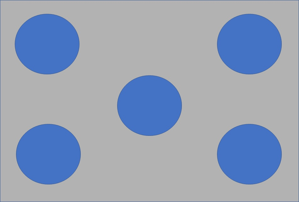 The building block of a QUINCUNX - a rectangle with 5 circles, each circle is a 'holding' area
