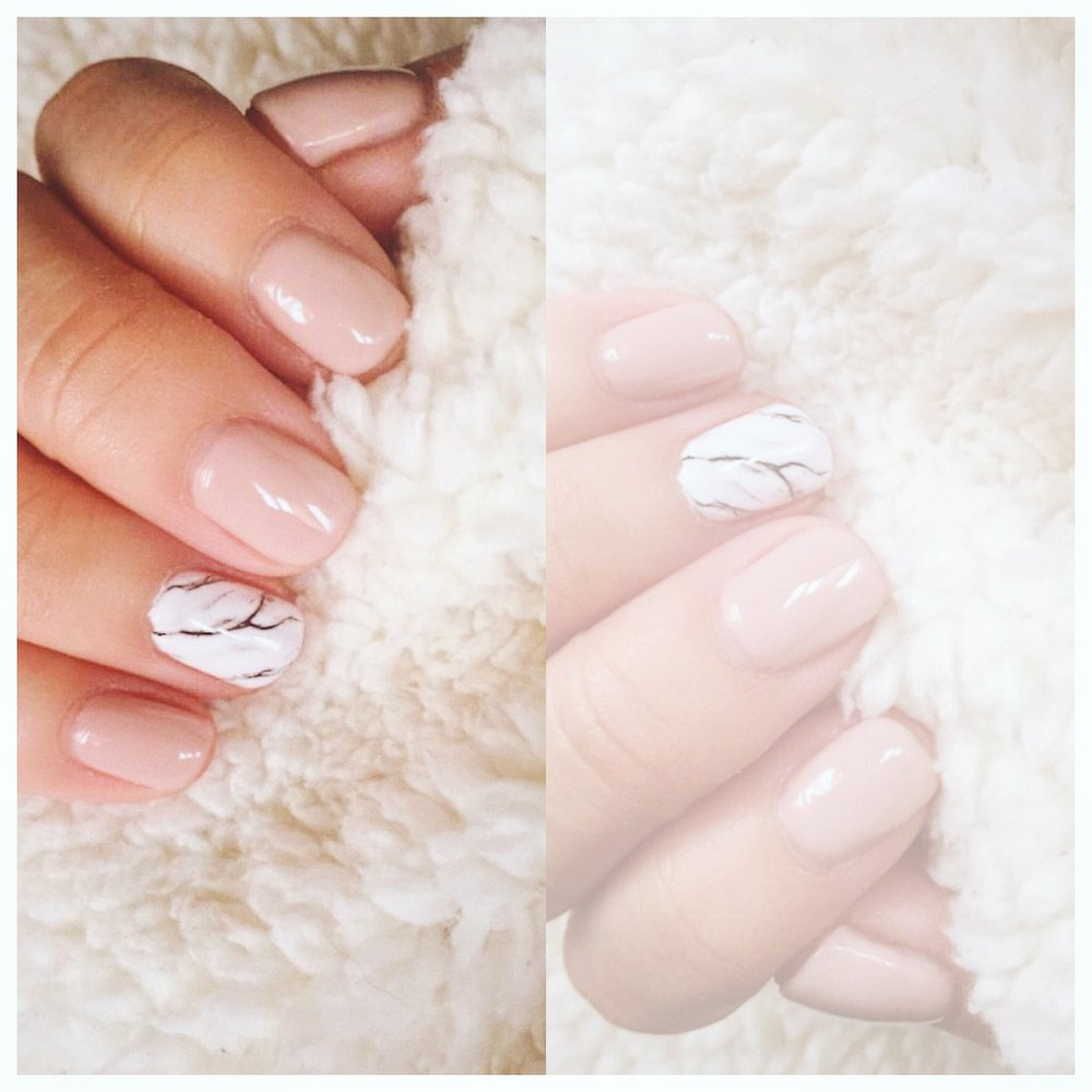 I decided on neutral nails with an accent of marble! Do you like?!