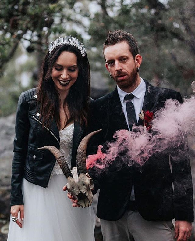 Bek & Hutch's ultra cool wedding day in Kangaroo Valley captured by @kristiecarrickphotography Love seeing how my customers rock their  style 🖤🥀 Bek is wearing the Origin clear quartz crown in silver wiring and to be honest it's just a little extra icing on an already beautiful cake!  Wedding team tagged x  #kangaroovalleywedding #southcoastwedding #coolweddings #winterwedding #quartzcrown #crystalcrown #clearquartz #healingquartz #bridalcrown #rockandrollwedding #rockandrollbride #healingcrystals #pinksmoke #moodywedding #moodystyle #customisedleather  #mrandmrs #newlyweds #coupleswithstyle