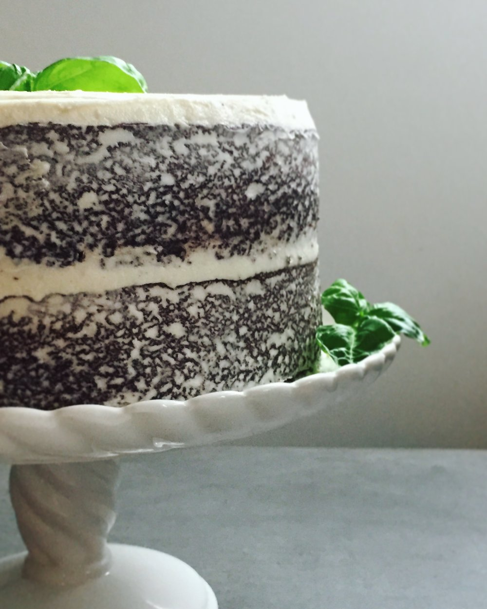 Chocolate Cake with Basil Frosting