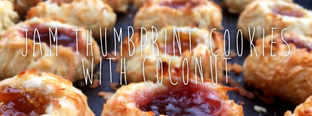 JAM THUMBPRINT COOKIES WITH COCONUT
