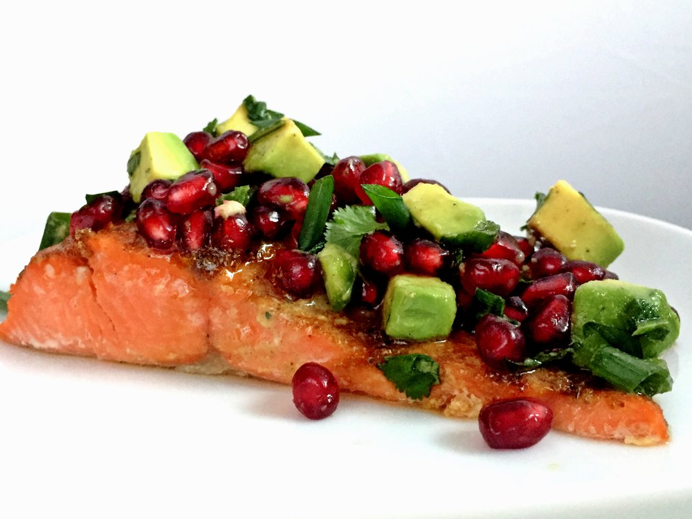 Salmon With Pomegranate Avocado Salsa