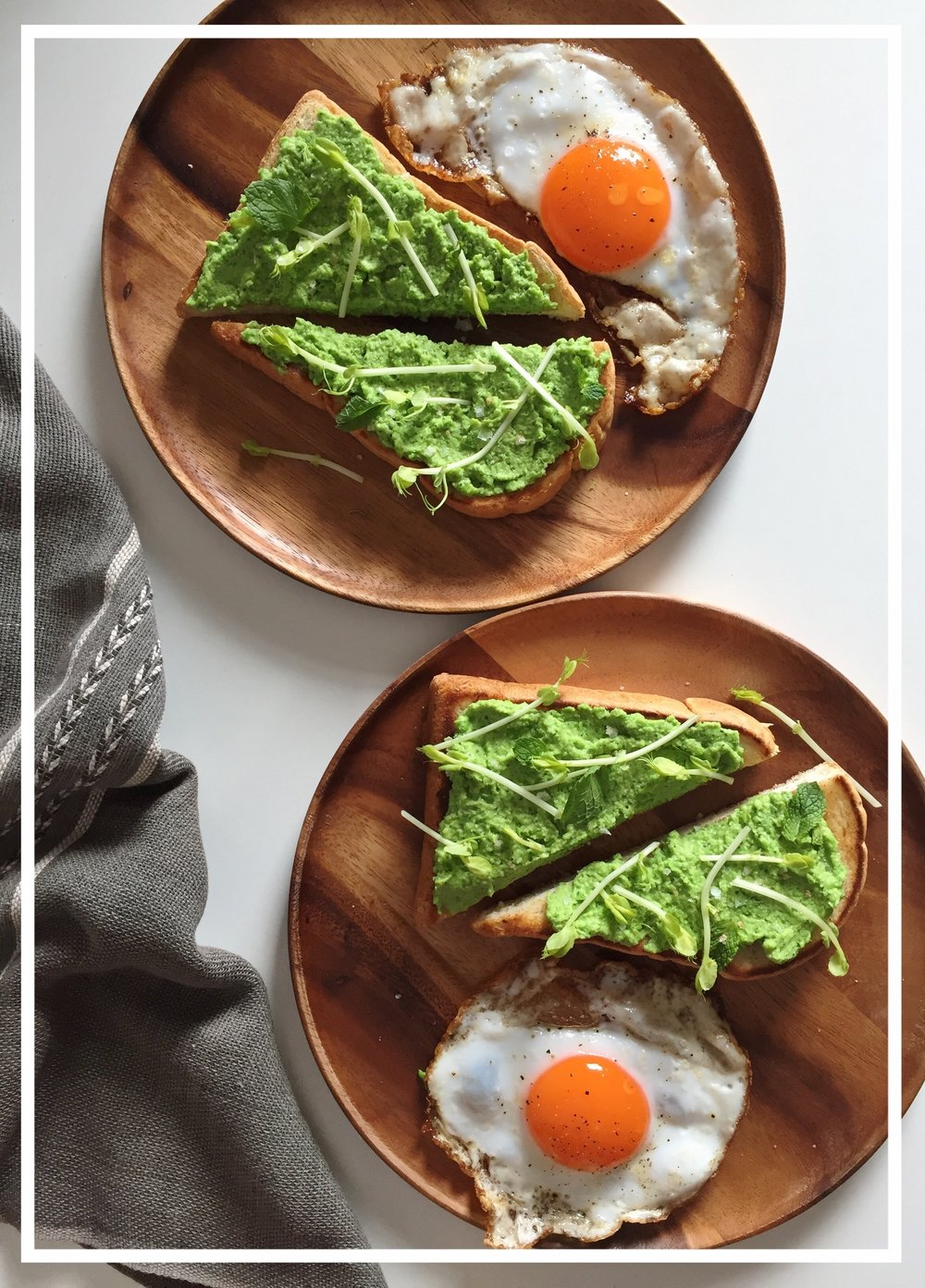 Pea toast with Eggs
