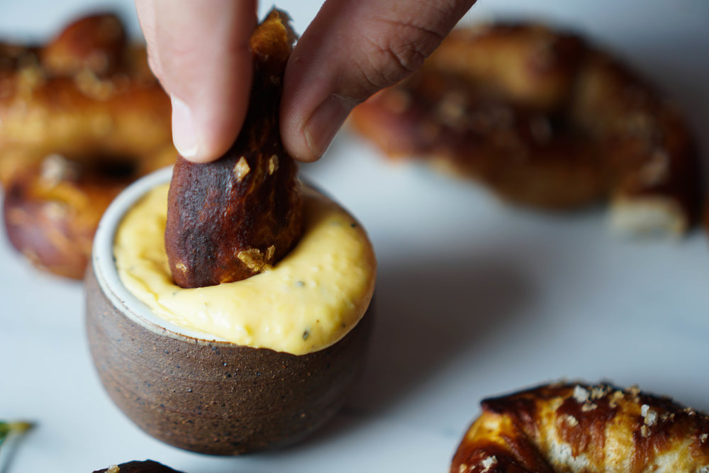 Apple Butter Pretzel with Cheddar Rosemary Dip