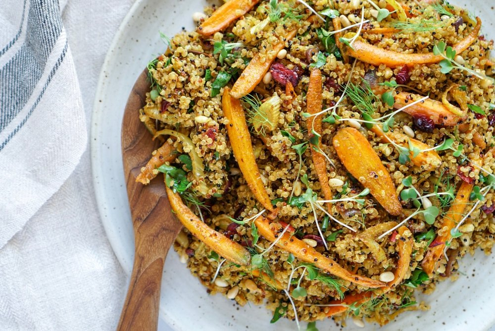 spiced quinoa roasted carrot salad