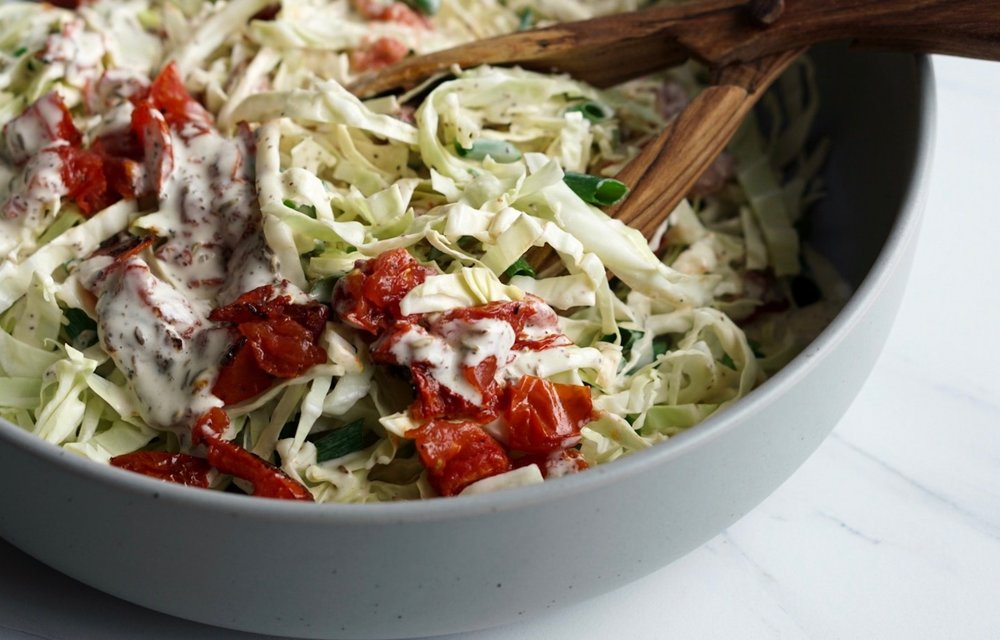 Roasted Tomato Malt Vinegar Cole Slaw