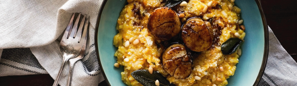 butternut squash risotto and scallops
