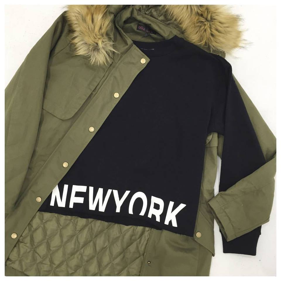 The New York Raw Hem Sweat Top + Fur Trim Parka