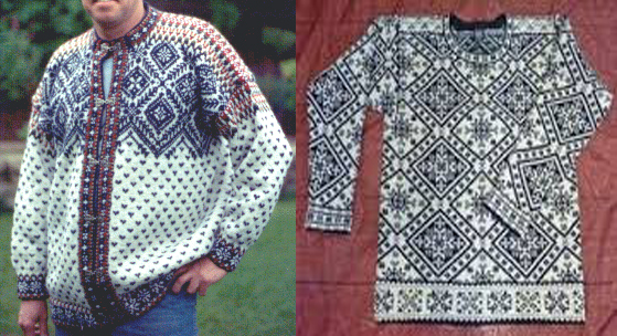 A Norwegian jumper (left) and an Estonian jumper, using similar motifs