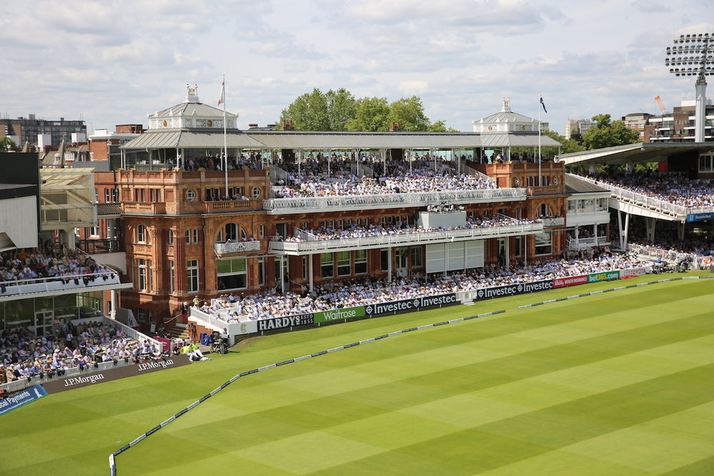 The view of the iconic Lord's Pavilion, as seen from the Mound Stand terrace