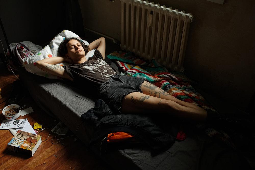 Victoria in her bed, Berlin, 2016