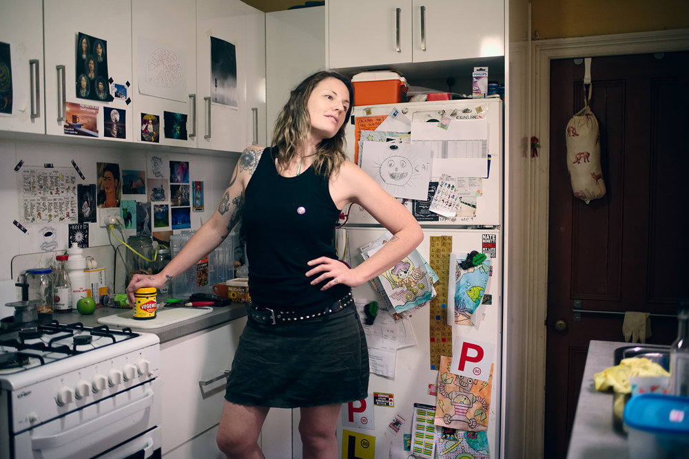 Kallie in her kitchen, vocals in Thorax, Sydney, 2016