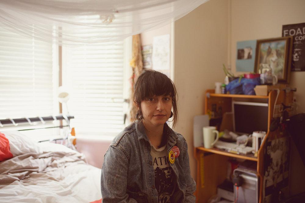 T.J. in her bedroom, Summer Hills, 2017