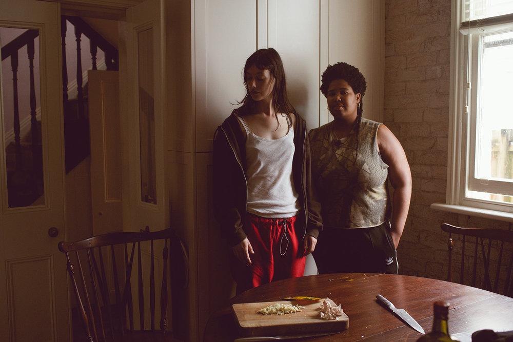 Sylvie and Takiaya cooking on tour, 2017