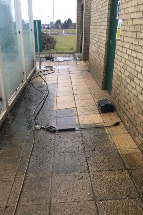 Jet washing at a Morrisons store