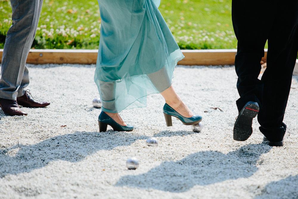 Petanque boccia under en pause i bryllupet